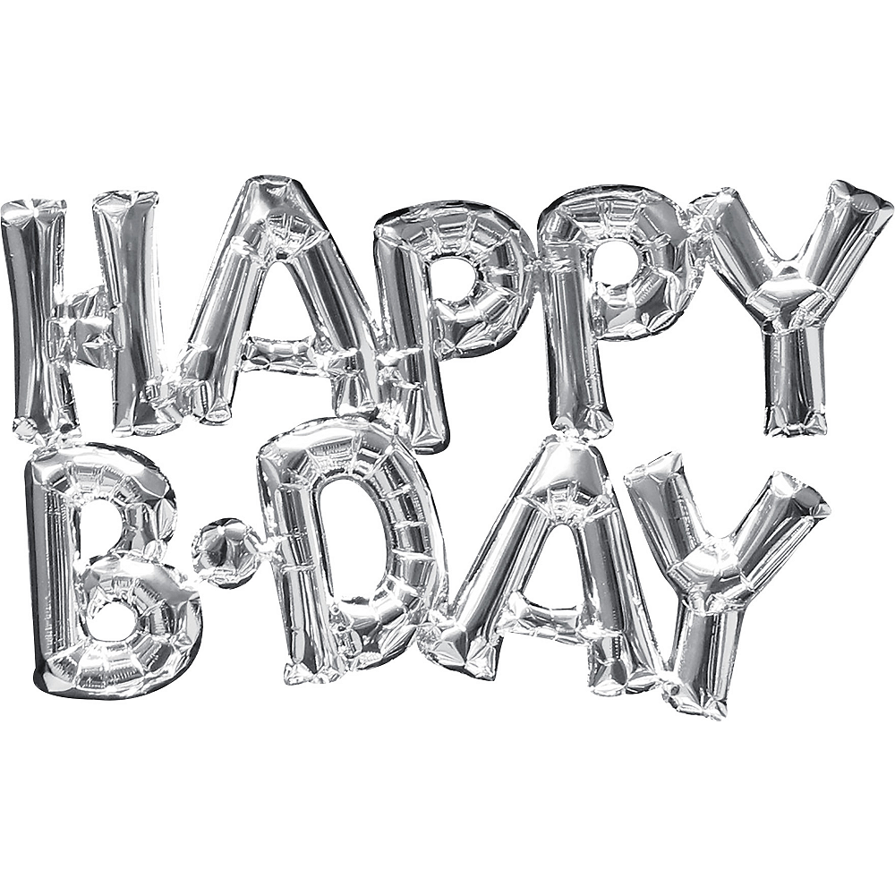Air-Filled Silver Happy B-Day Letter Balloon Banners 2ct Image #1
