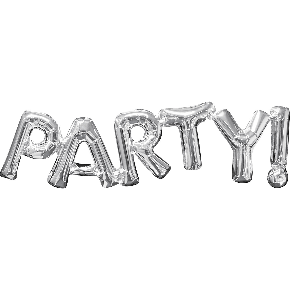 Nav Item for Air-Filled Silver Party Letter Balloon Banner Image #1