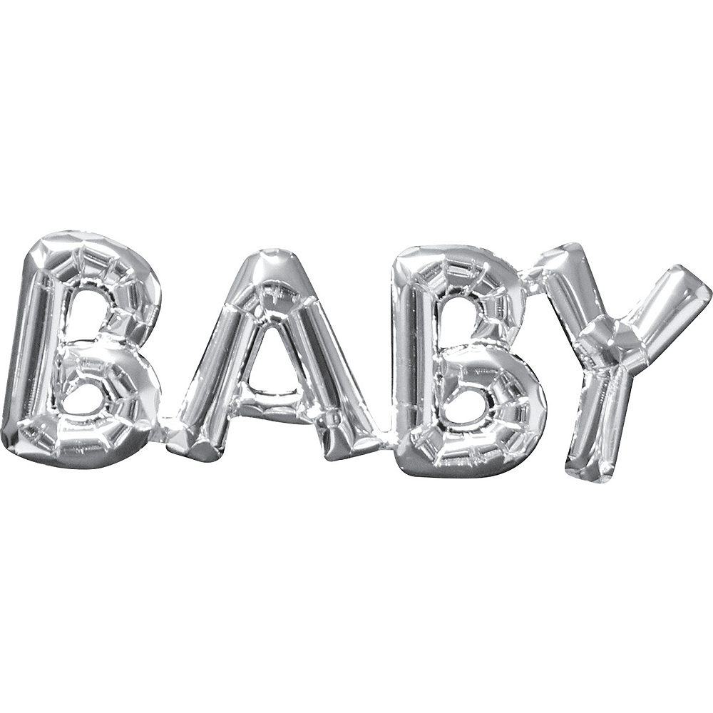 Air-Filled Silver Baby Letter Balloon Banner Image #1
