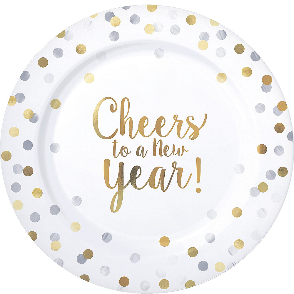 Cheers to a New Year Premium Plastic Dinner Plates 10ct Image #1