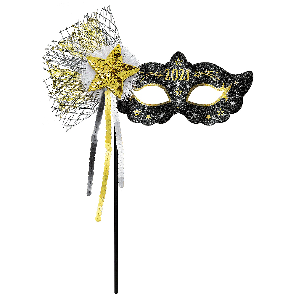 Black, Gold & Silver Glitter 2020 Masquerade Mask on a Stick Image #1