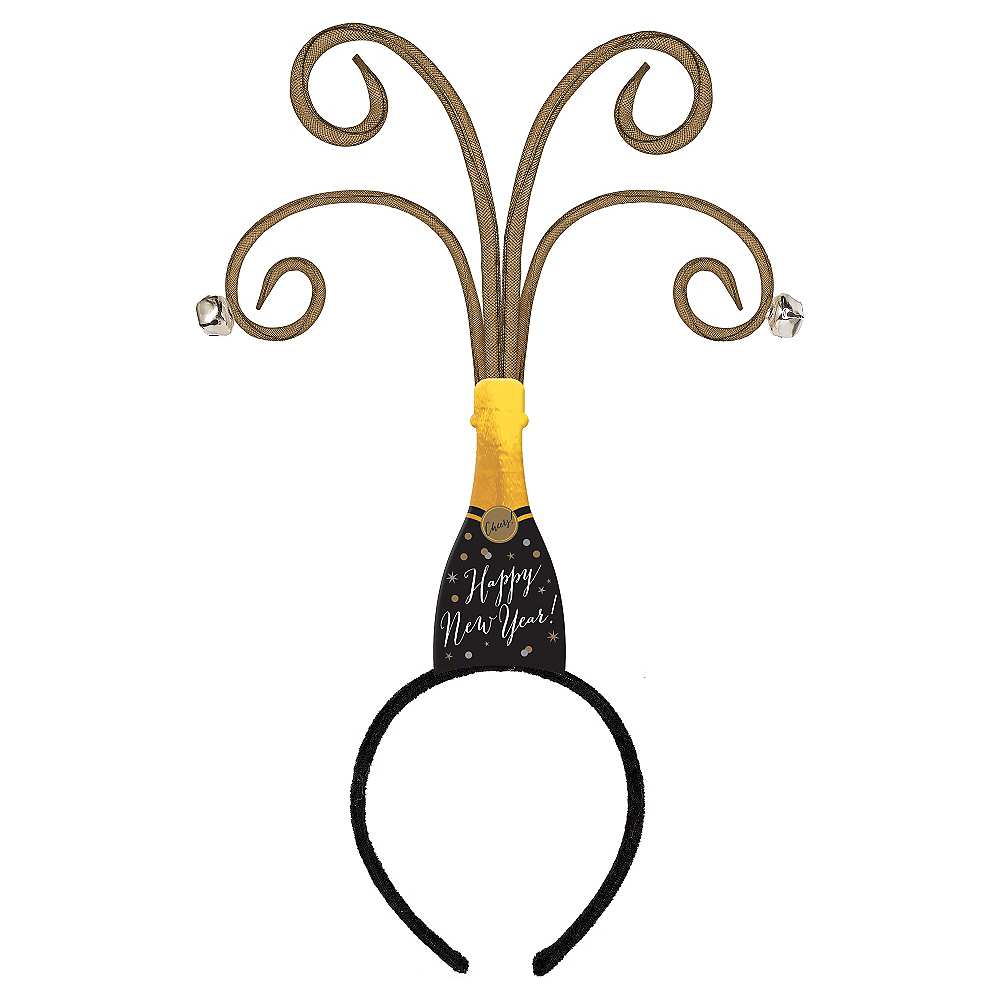 Black, Gold & Silver Champagne Bottle New Year's Head Bopper Image #1