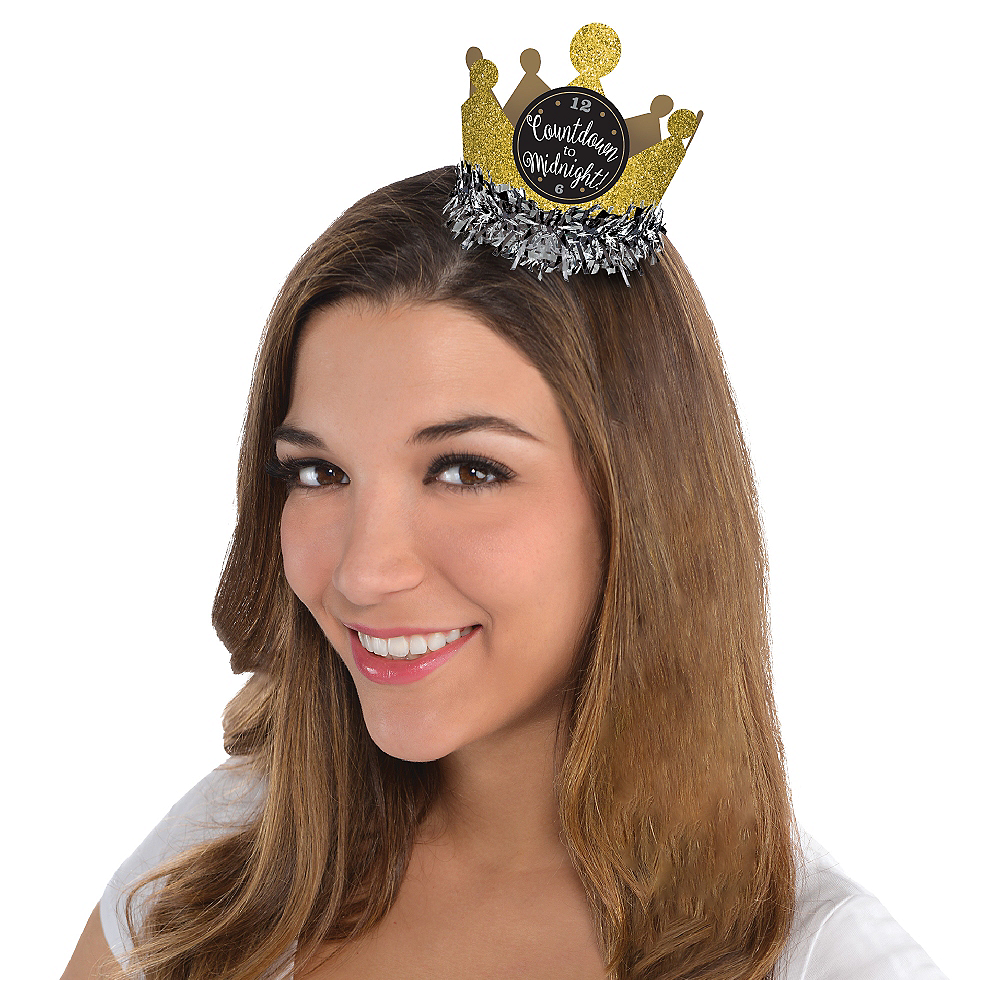 Black, Gold & Silver Mini Glitter Crown Image #1