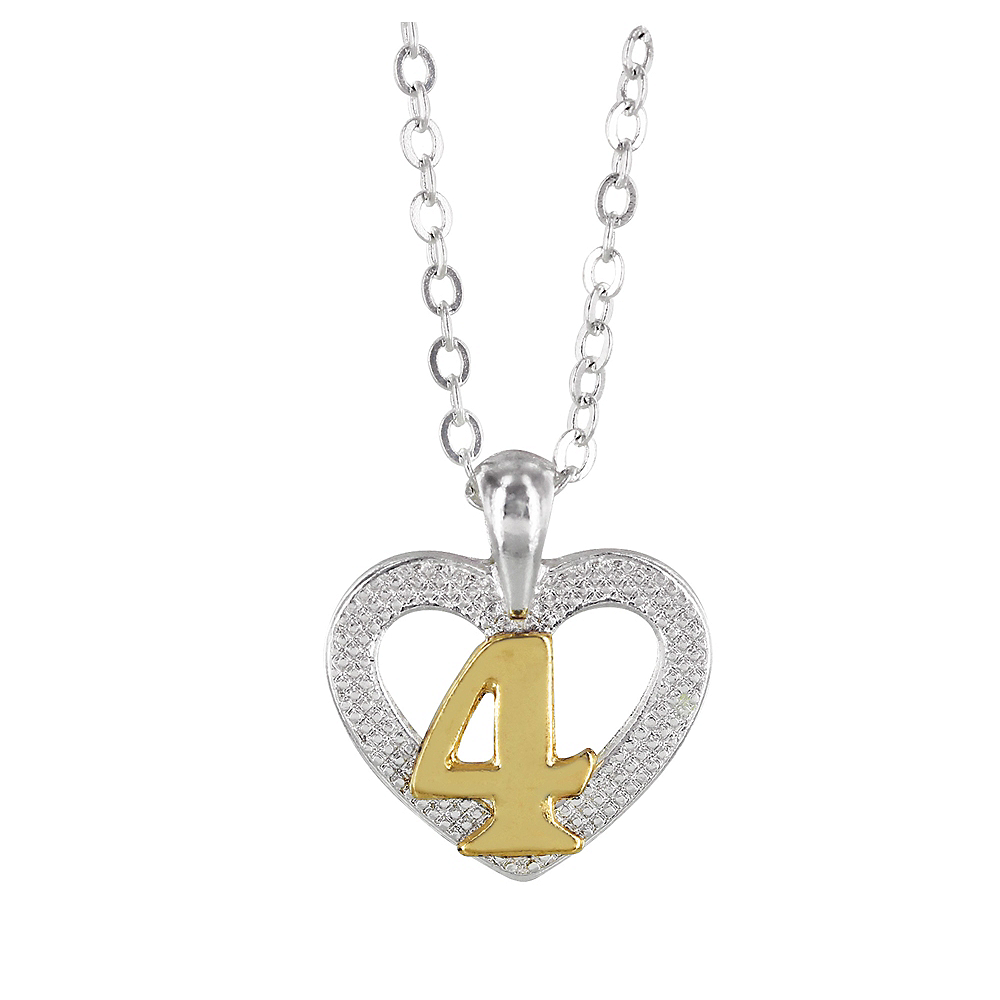 4th Birthday Heart Pendant Necklace with Case Image #1
