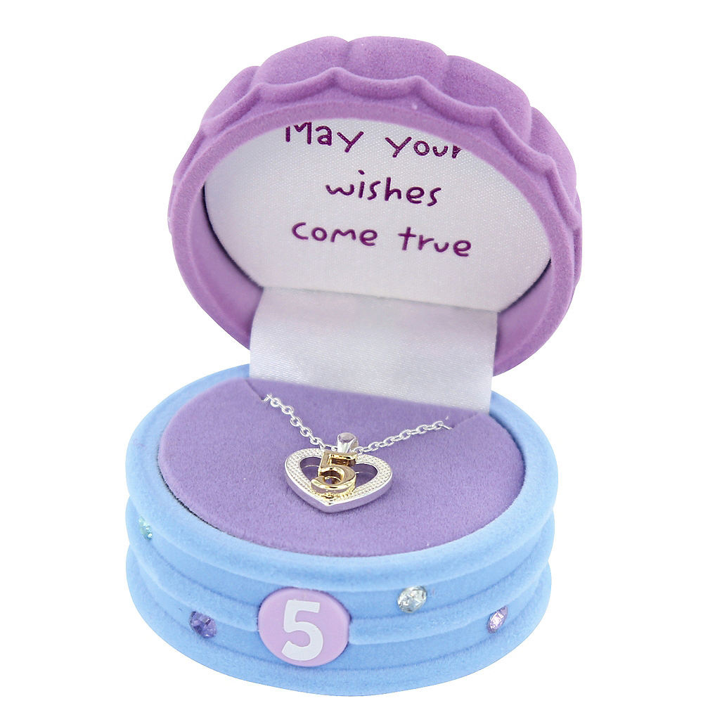 5th Birthday Heart Pendant Necklace with Case Image #2