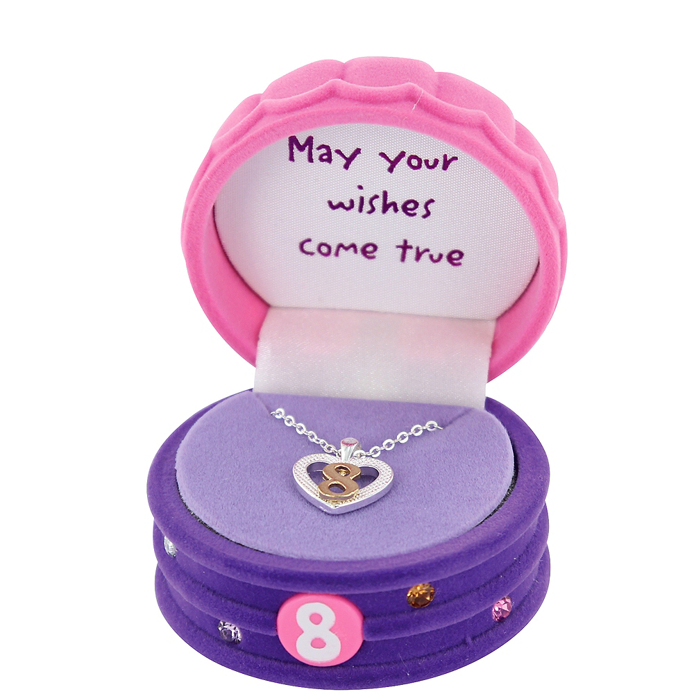 8th Birthday Heart Pendant Necklace with Case Image #2