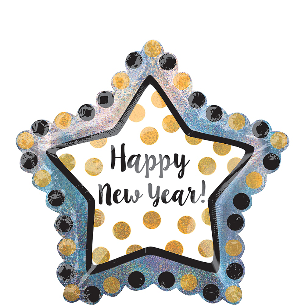Black, Gold & Silver Star New Year's Balloon - Giant, 36in Image #1