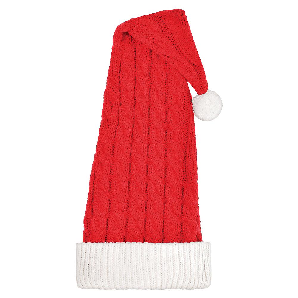 Long Cable-Knit Santa Hat Image #1