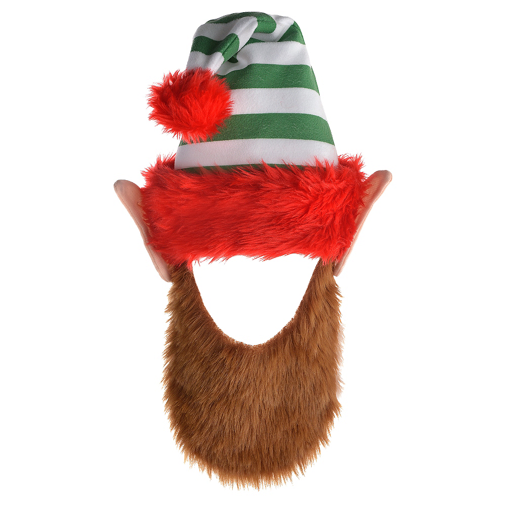 Green Striped Elf Hat with Beard Image #1