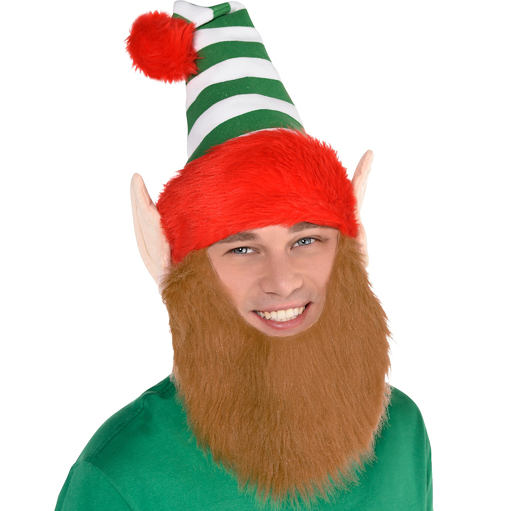 Green Striped Elf Hat with Beard Image #2