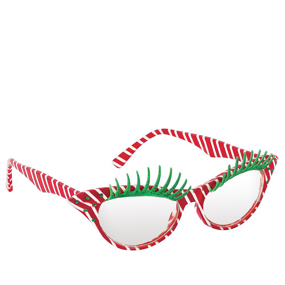 Candy Cane Eyelash Glasses Image #2