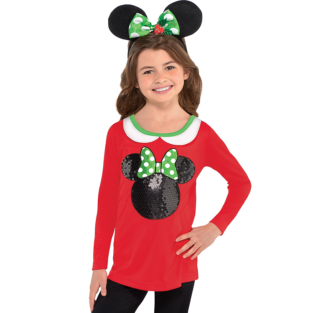 Girls Holiday Minnie Mouse Long-Sleeve Shirt Image #2