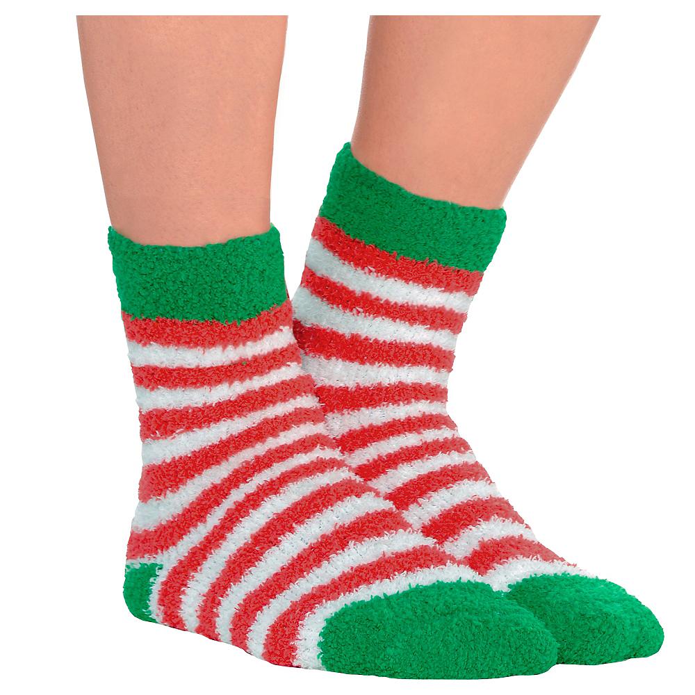 Christmas Fuzzy Socks.Striped Christmas Fuzzy Socks