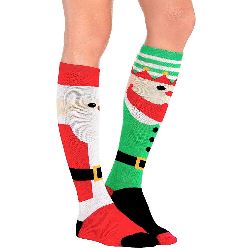 Mismatch Elf & Santa Christmas Knee Socks Image #1