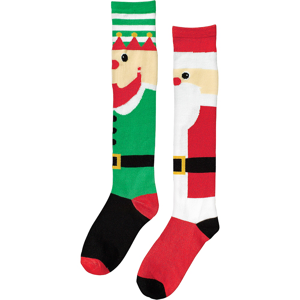 Mismatch Elf & Santa Christmas Knee Socks Image #2