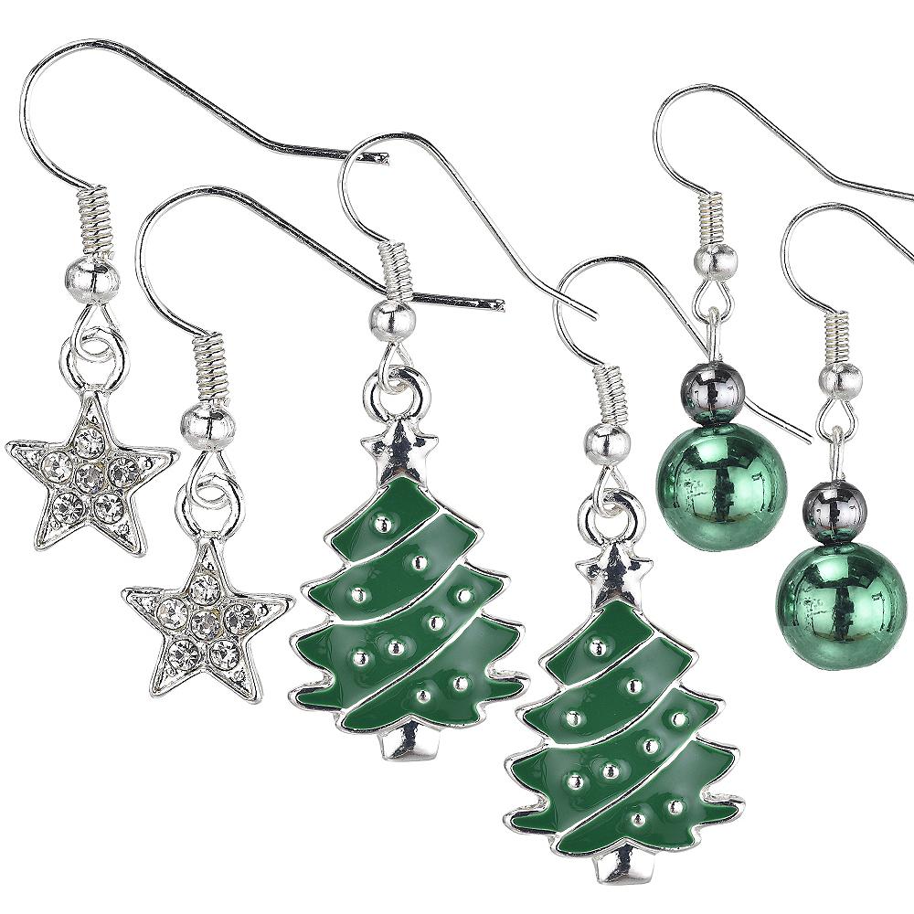 Christmas Tree & Star Christmas Earrings Set 6pc Image #1