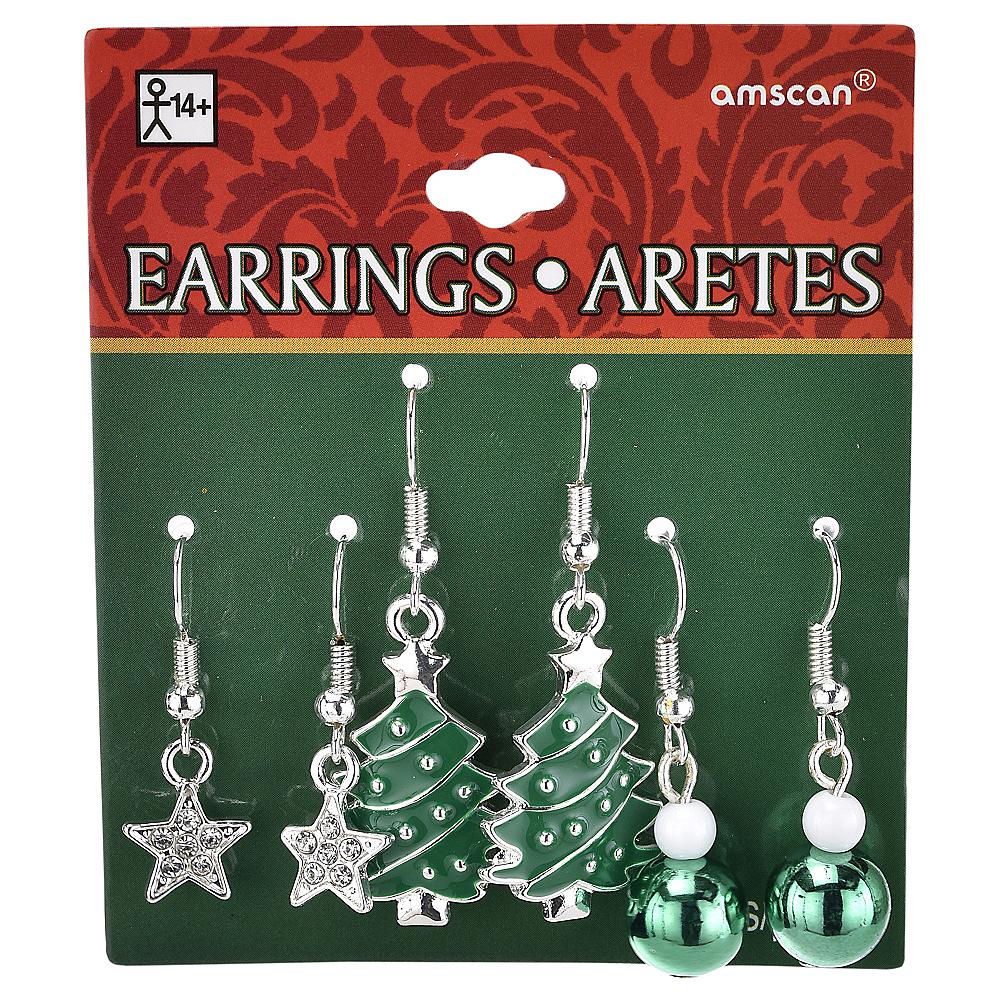 Christmas Tree & Star Christmas Earrings Set 6pc Image #2