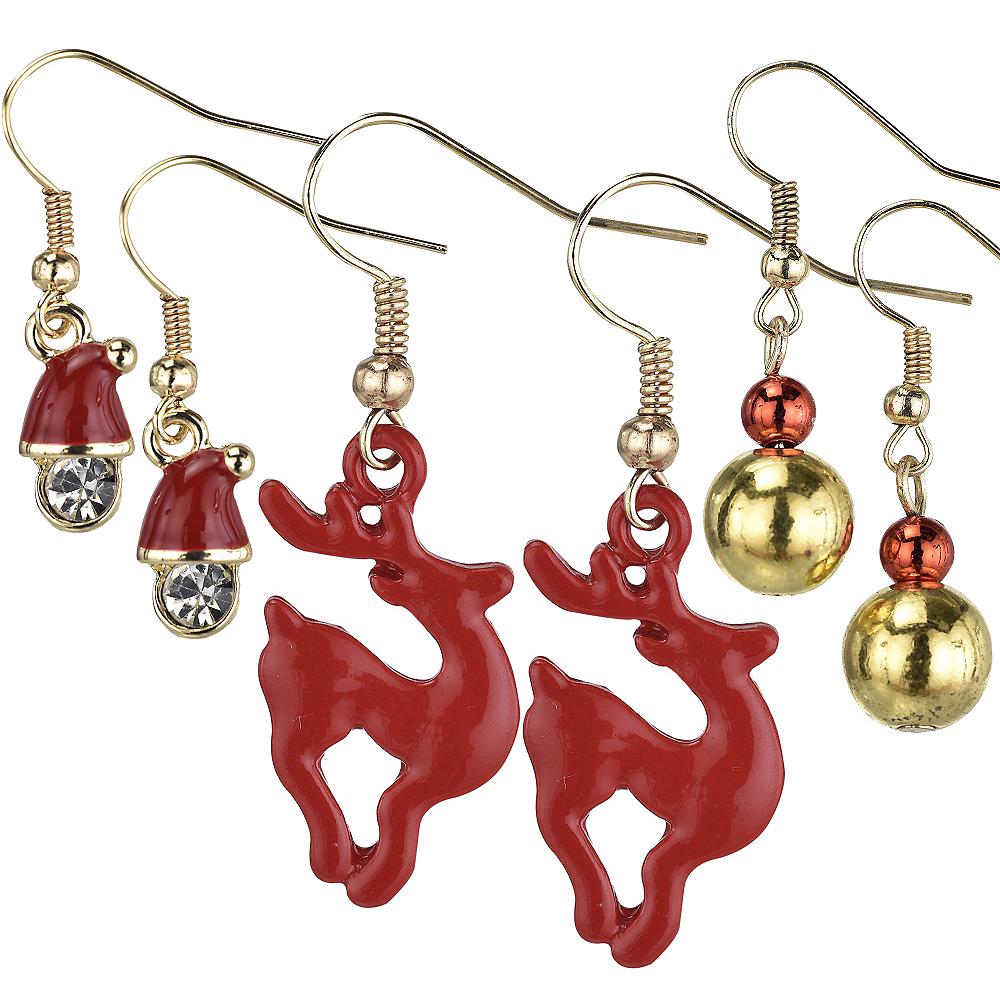 Reindeer & Santa Christmas Earrings Set 6pc Image #1
