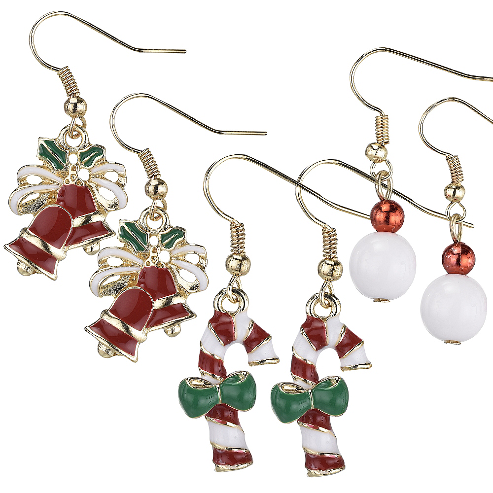 Bells & Candy Cane Christmas Earrings Set 6pc Image #1