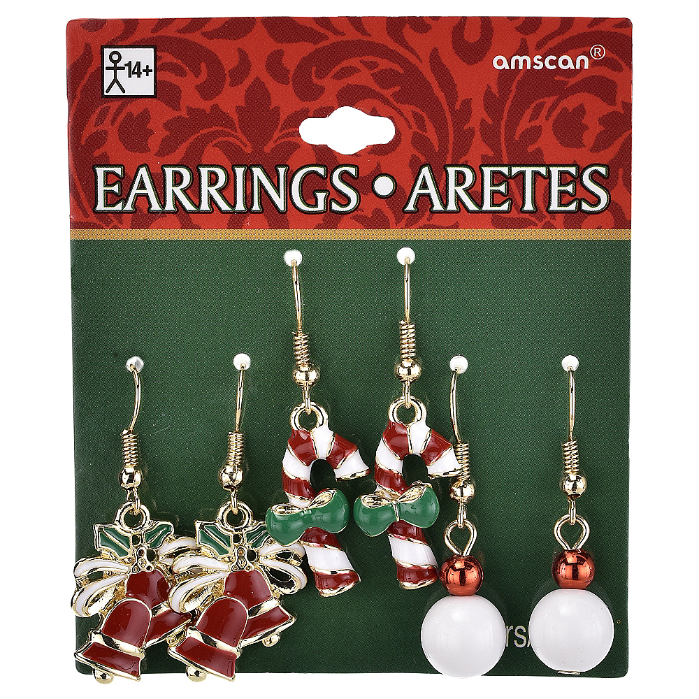 Bells & Candy Cane Christmas Earrings Set 6pc Image #2