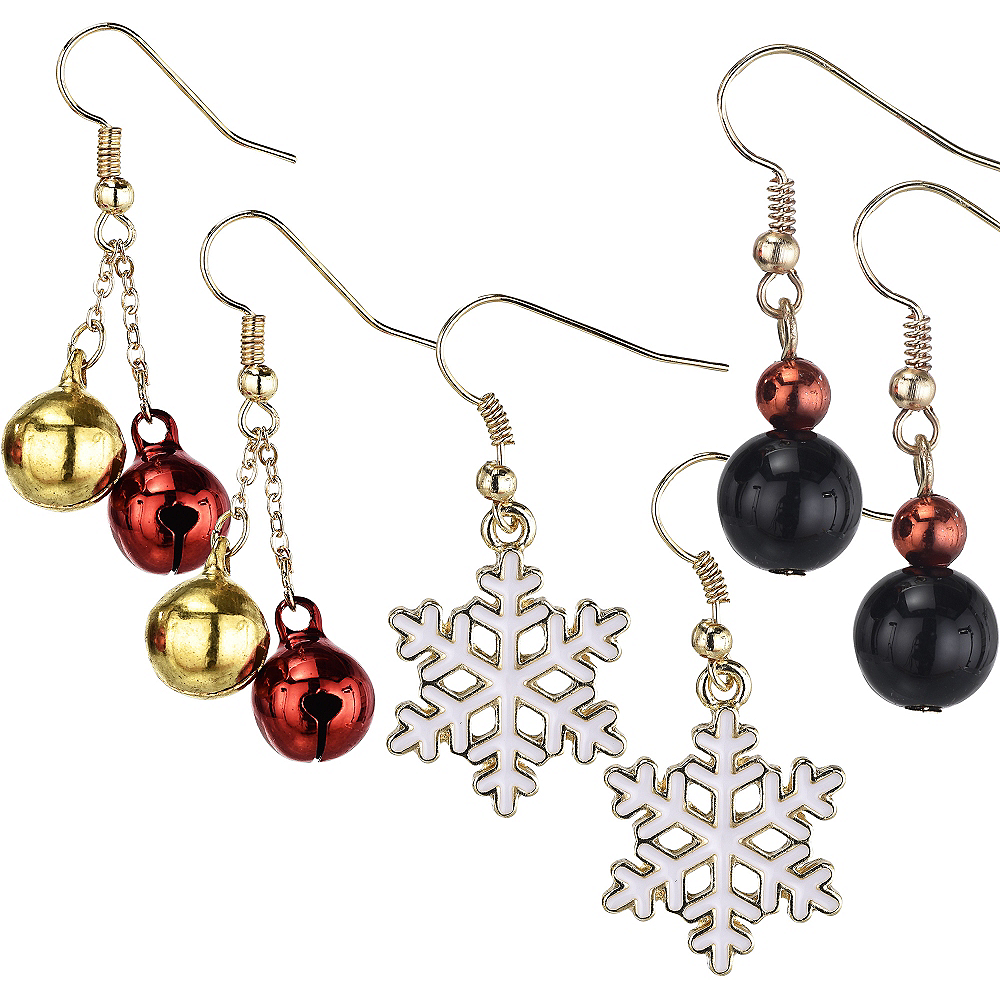 Jingle Bell & Snowflake Christmas Earrings Set 6pc Image #1