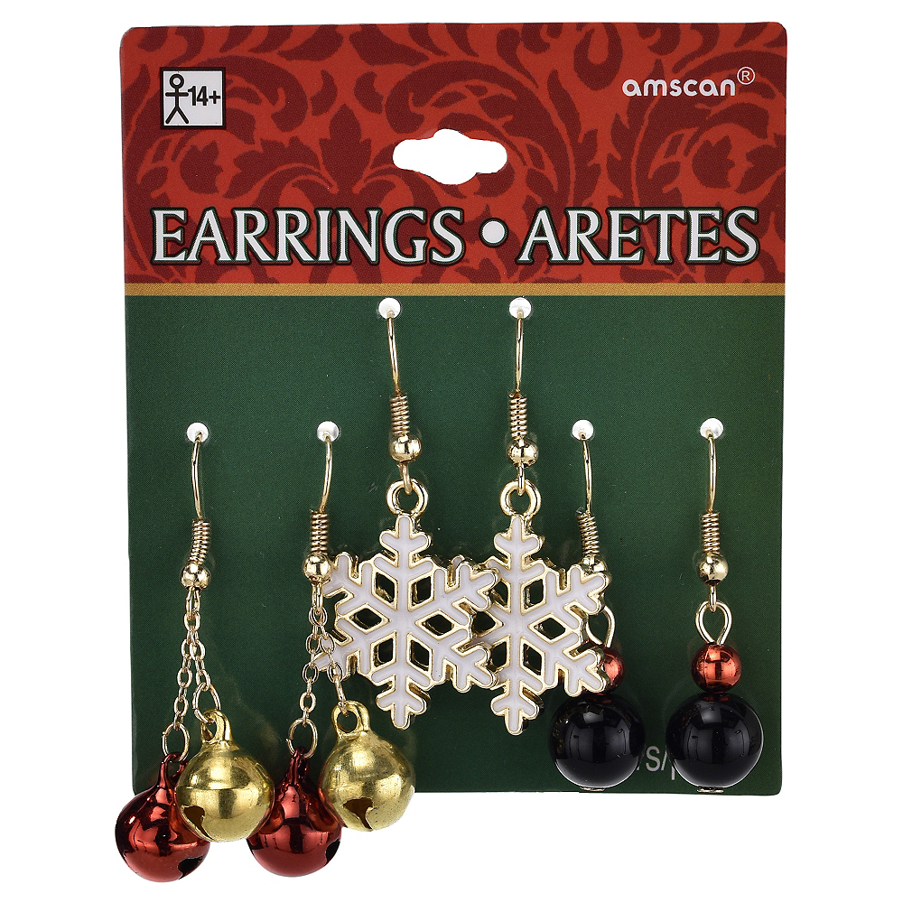 Jingle Bell & Snowflake Christmas Earrings Set 6pc Image #2