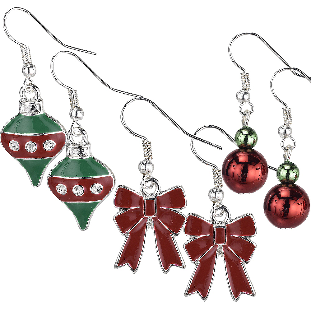 Bow & Ornament Christmas Earrings Set 6pc Image #1