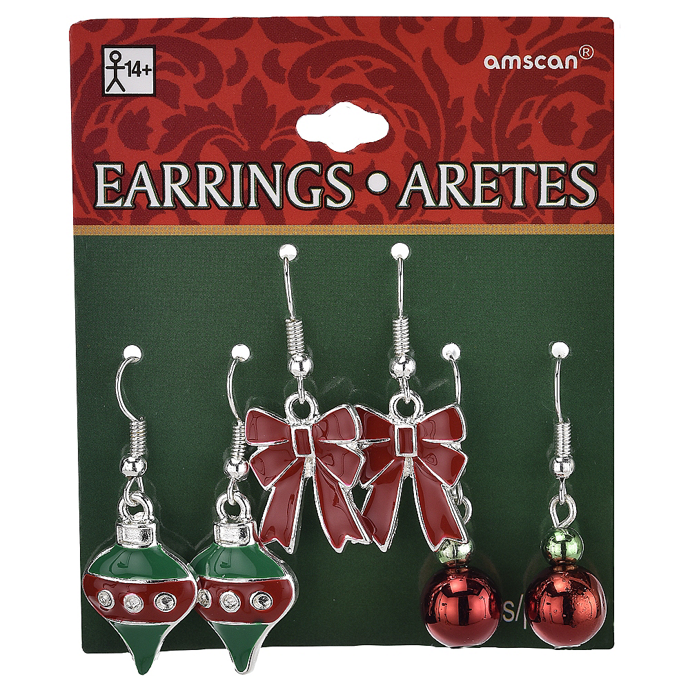 Bow & Ornament Christmas Earrings Set 6pc Image #2