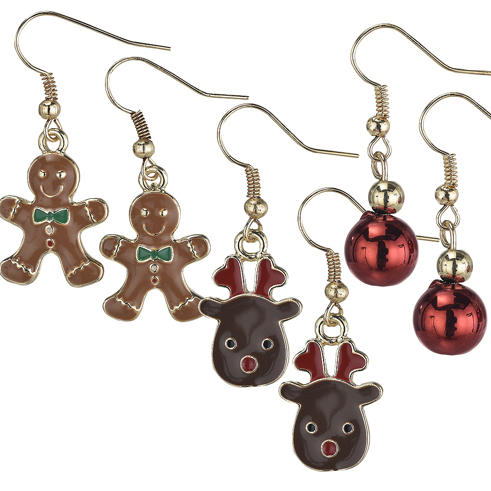 Gingerbread Man & Reindeer Christmas Earrings Set 6pc Image #1