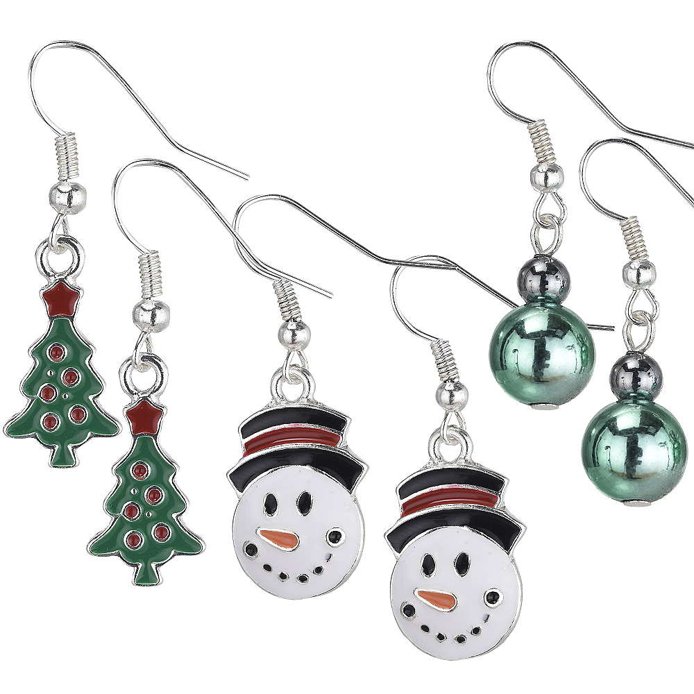 Christmas Tree & Snowman Christmas Earrings Set 6pc Image #1