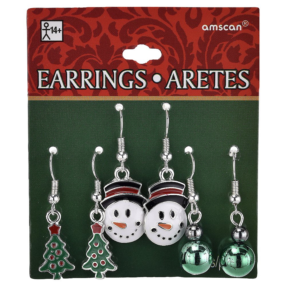 Christmas Tree & Snowman Christmas Earrings Set 6pc Image #2