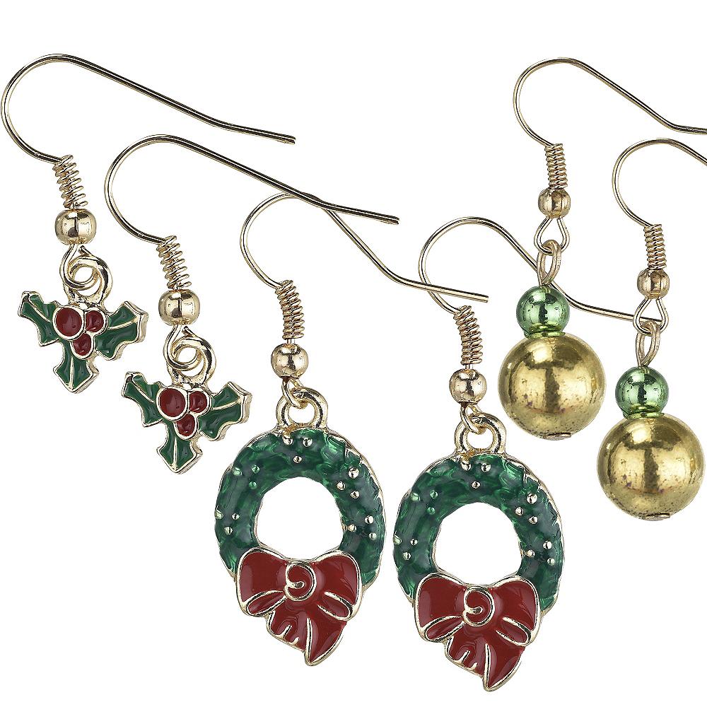 Wreath & Holly Christmas Earrings Set 6pc Image #1
