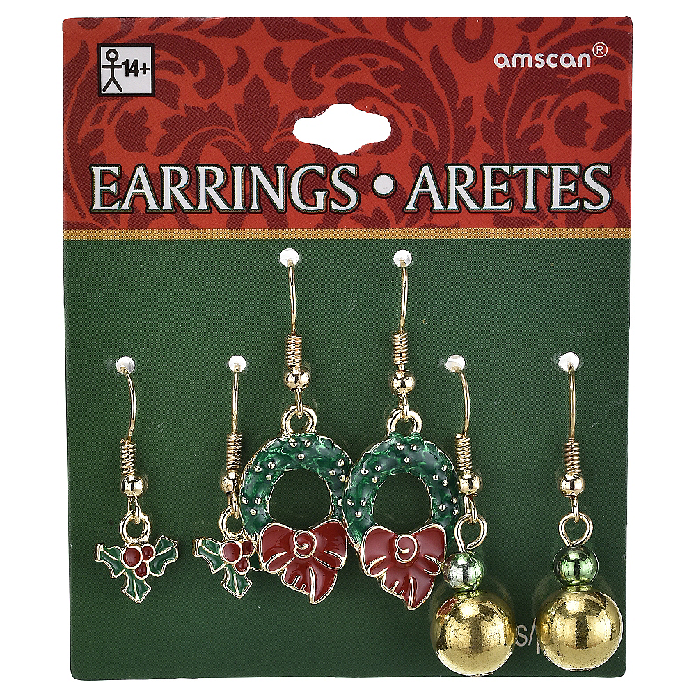 Wreath & Holly Christmas Earrings Set 6pc Image #2