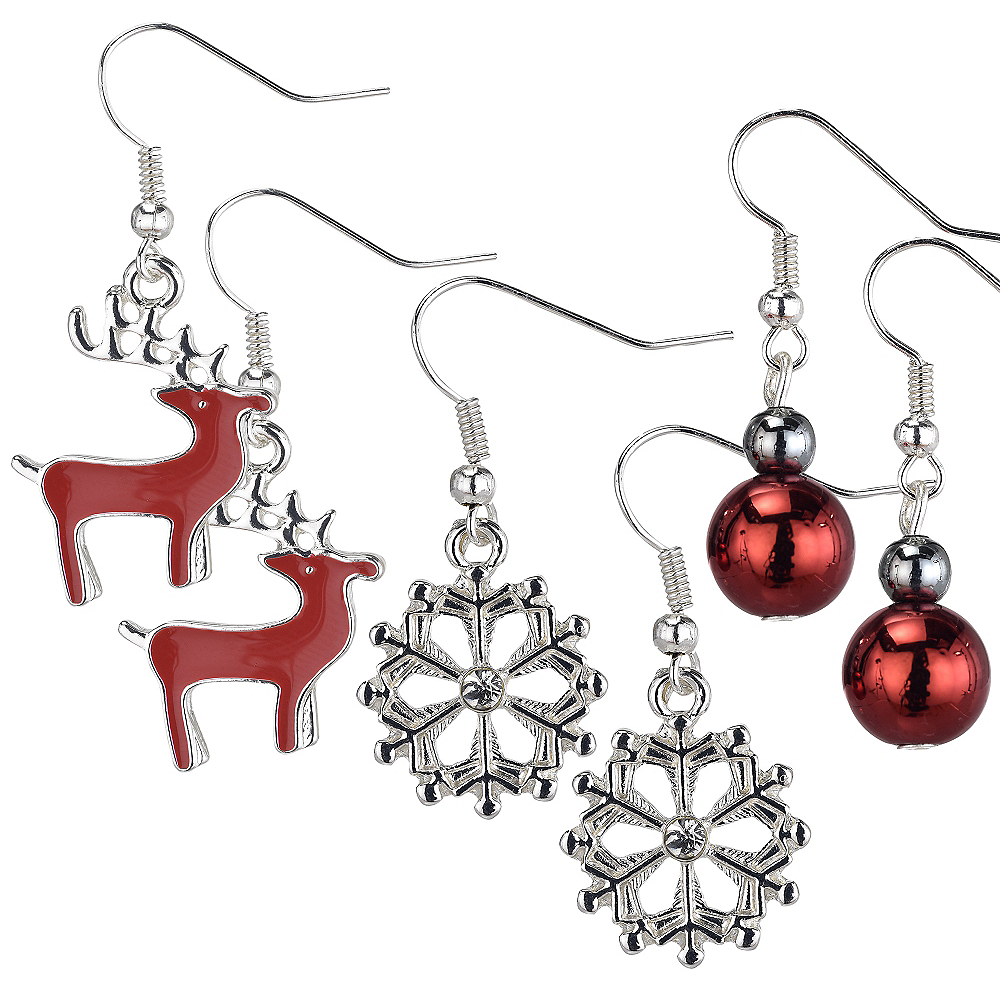 Reindeer & Snowflake Christmas Earrings Set 6pc Image #1