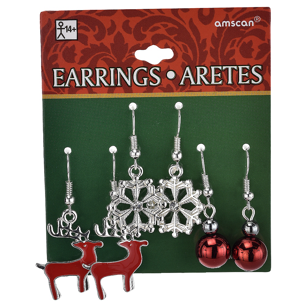 Reindeer & Snowflake Christmas Earrings Set 6pc Image #2