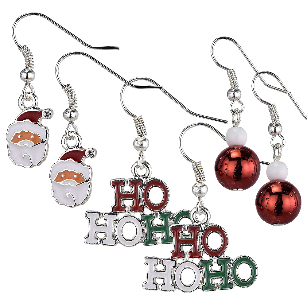 Ho Ho Ho & Santa Christmas Earrings Set 6pc Image #1