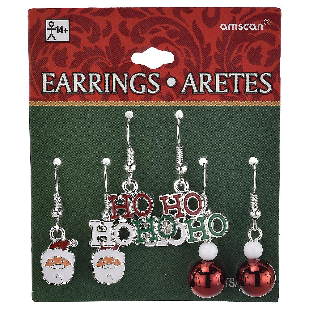 Ho Ho Ho & Santa Christmas Earrings Set 6pc Image #2