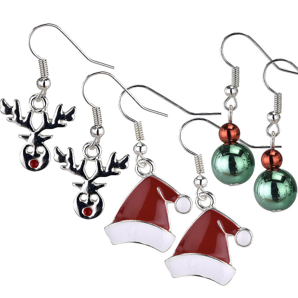 Santa Hat & Reindeer Christmas Earrings Set 6pc Image #1