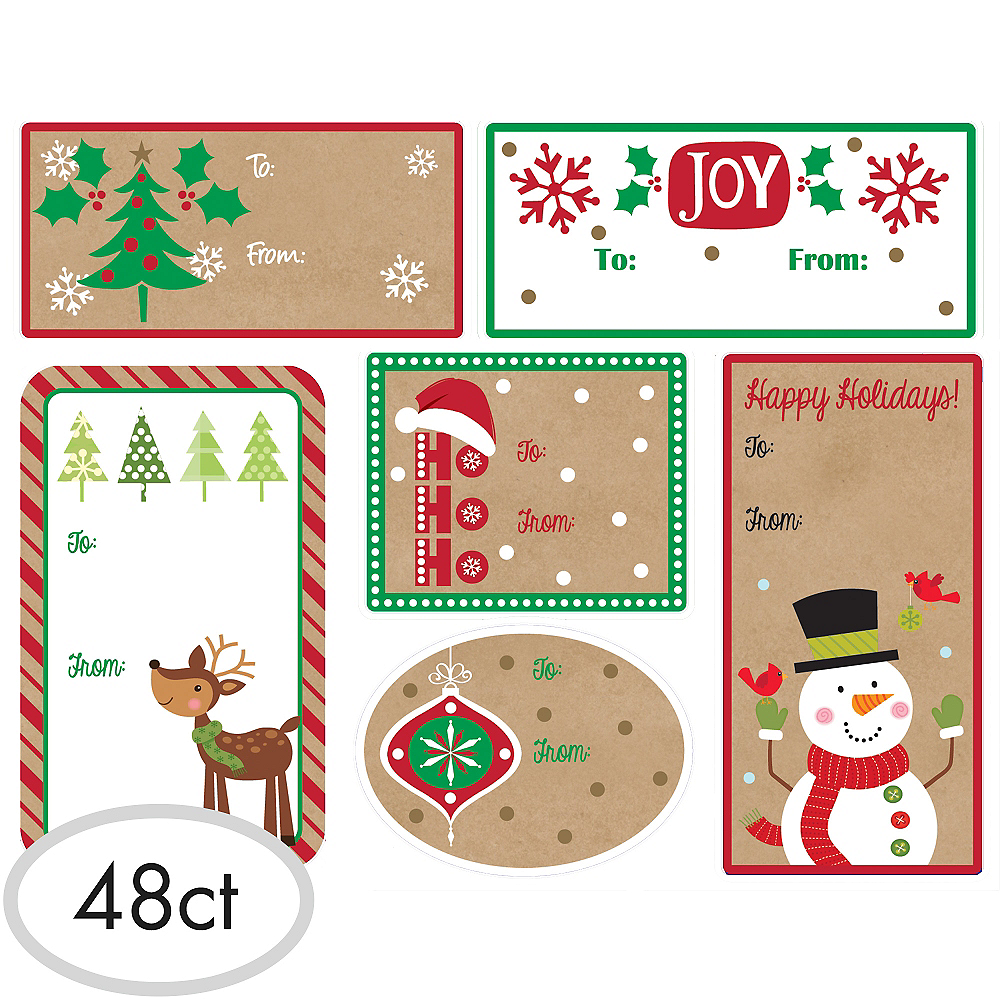 48 Christmas Present Adhesive Traditional Present Gift Labels Santa Snowman