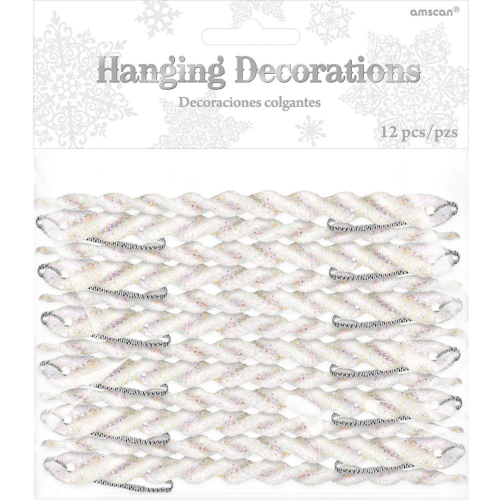 Glitter White Icicle Ornaments 12ct Image #1