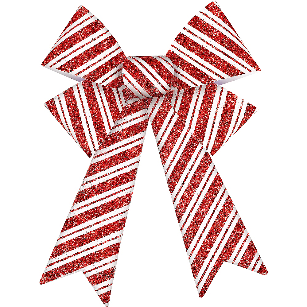 Glitter Red & White Striped Bow Image #1