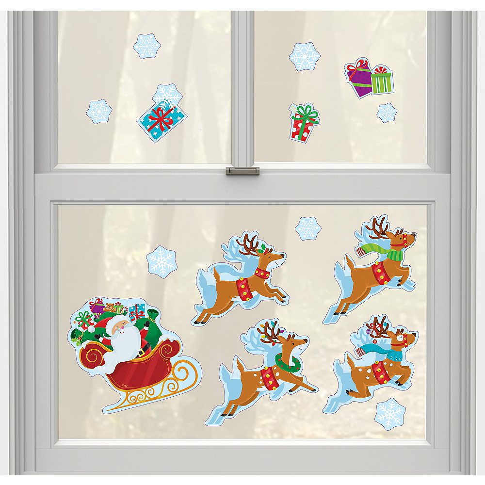 Santa Claus Christmas Cling Decals 15ct Image #1