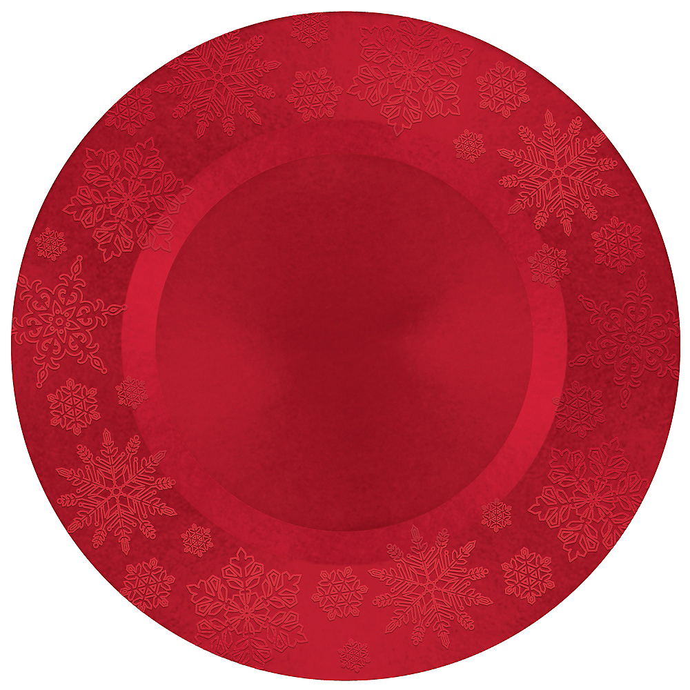Nav Item for Red Embossed Snowflake Round Plastic Charger Image #1