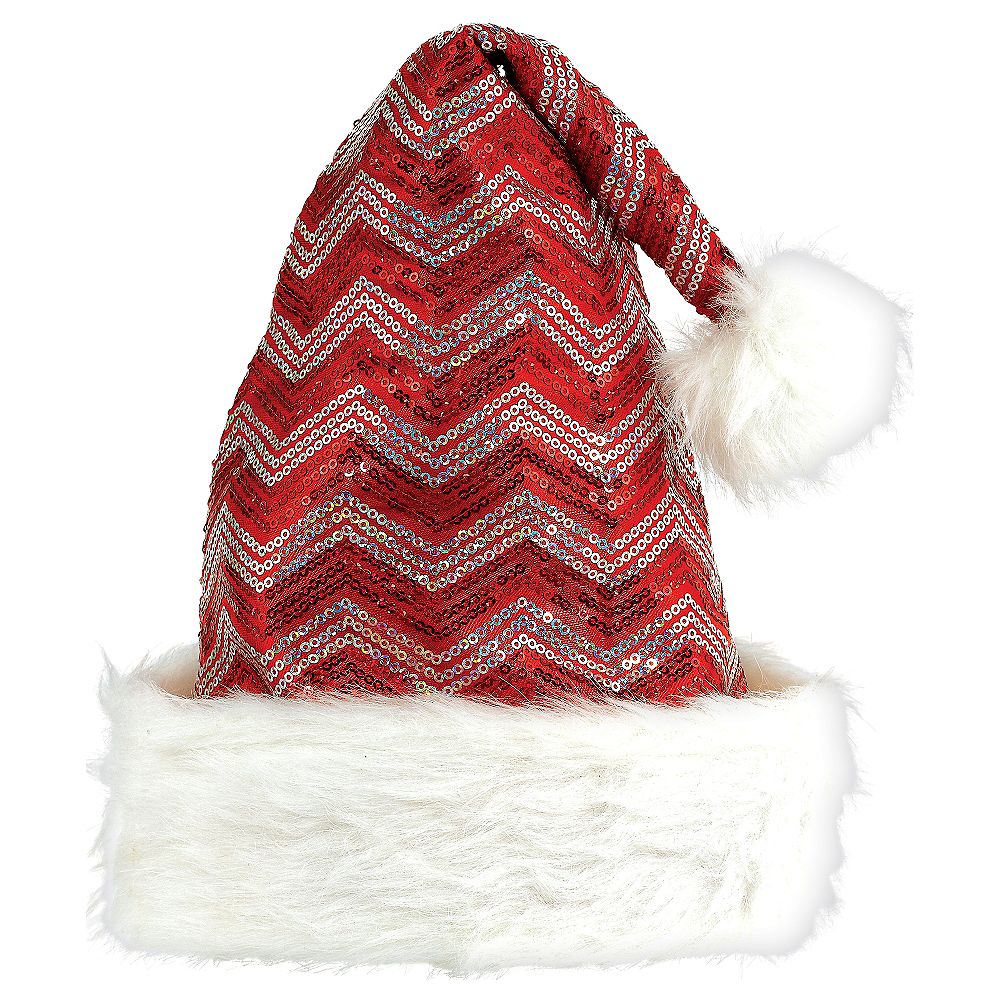 Sequin Red & White Chevron Santa Hat Image #1