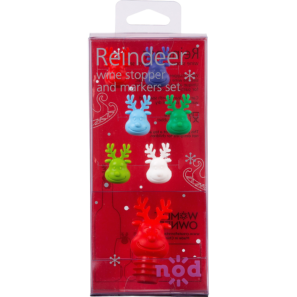 Reindeer Wine Stopper & Markers Set 7pc Image #2