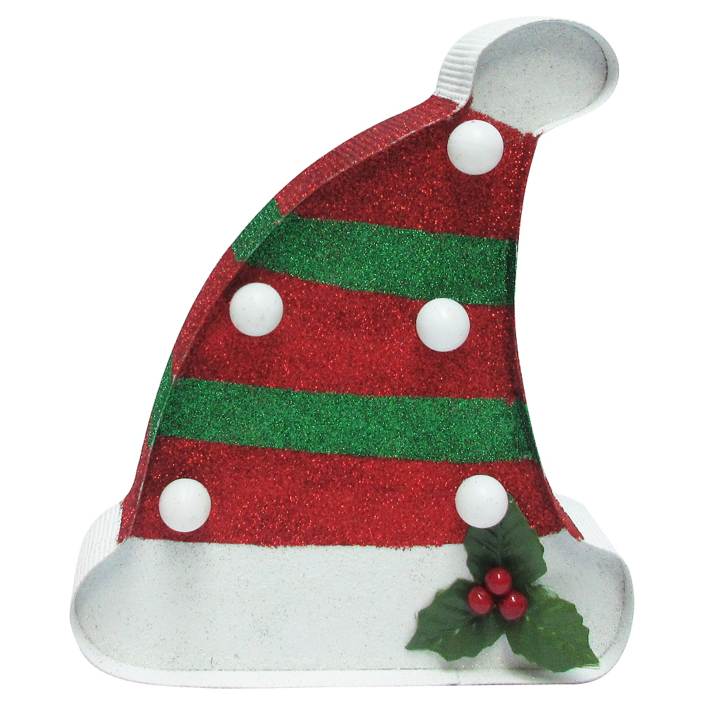 glitter light up christmas hat marquee sign image 2