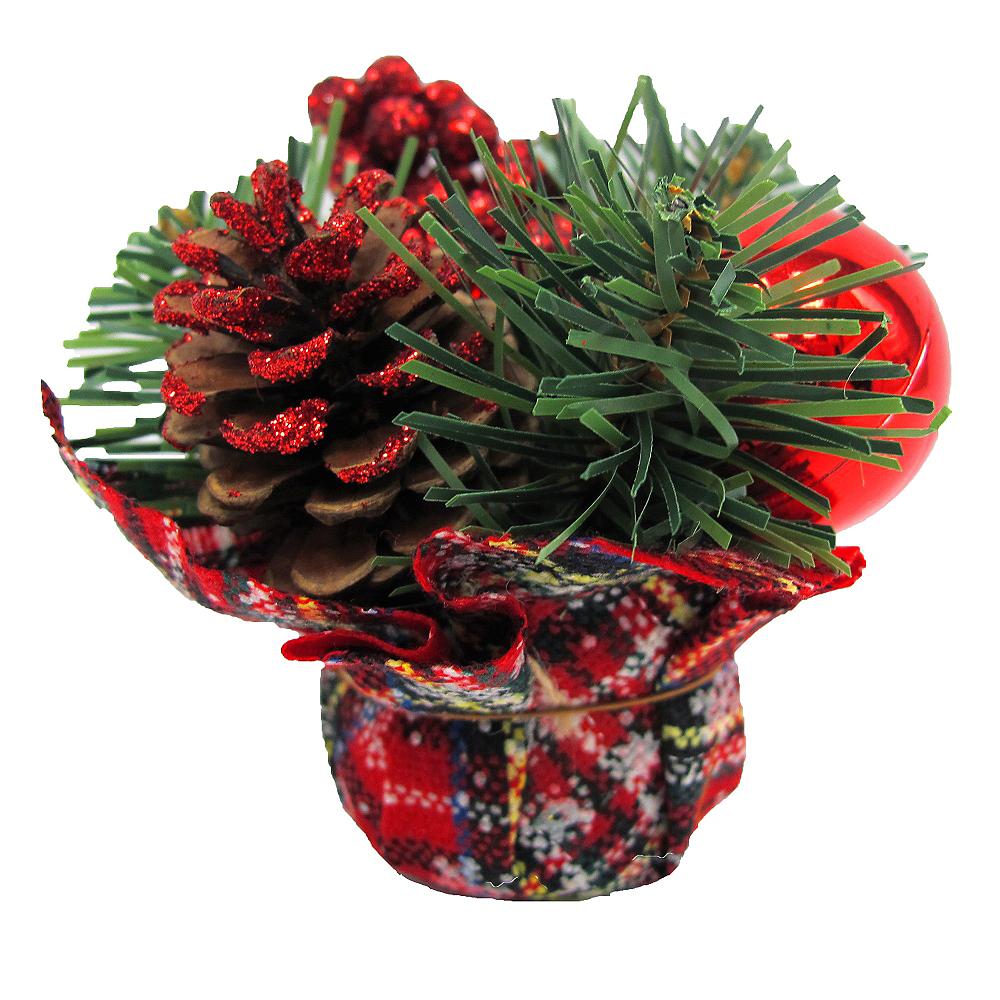 Red Plaid Holiday Burlap Centerpiece Image #1