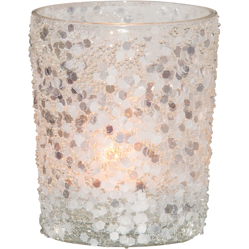 Silver Glitter Votive Candle Holders 6ct Image #2
