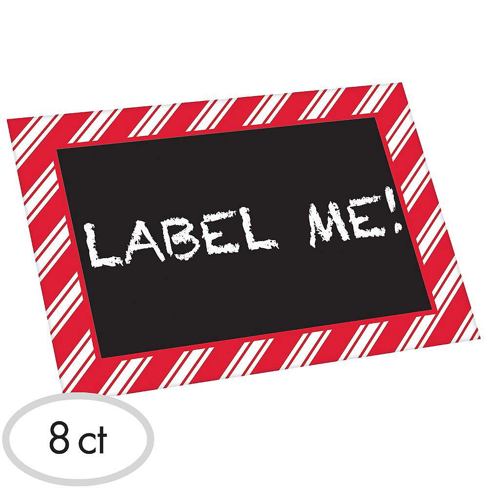 Red & White Striped Chalkboard Label Stands 8ct Image #1