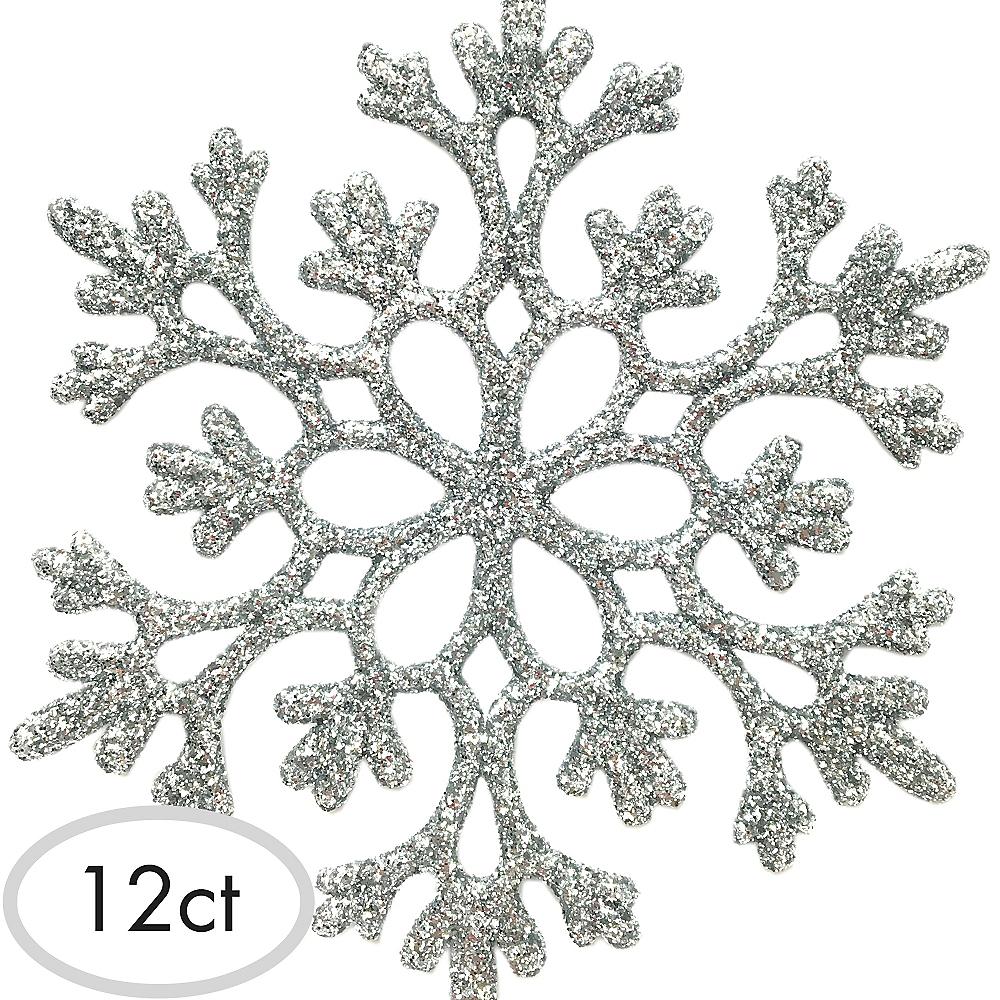 Glitter Silver Snowflake Ornaments 12ct Image #1